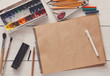 Leinwanddruck Bild - Drawing tools, stationary, workplace of artist