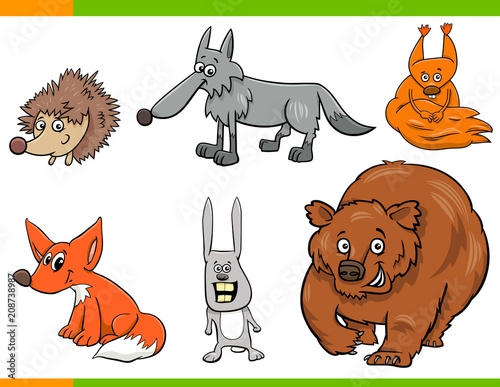 Obraz na płótnie wild animal cartoon characters set