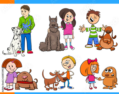 children with dogs cartoon collection