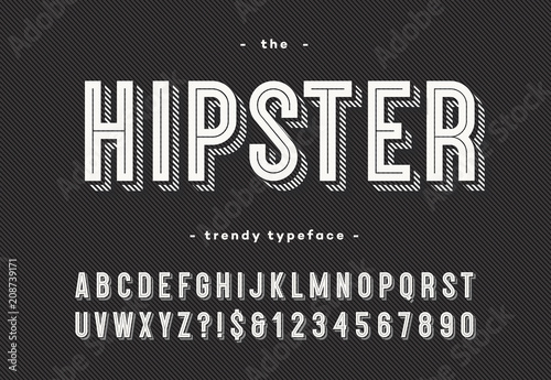 Hipster trendy typeface bold 3d style. Cool font. Alphabet modern typography for party poster, t shirt, promotion, label, special offer. Vector Illustration 10 eps
