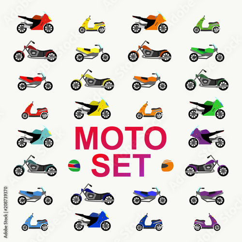 motocircle and motobike set flat style for concept, gift wrap, printing on fabric, party poster, decoration, scrapbooking, banner, greeting card, sale, promotion. kids auto, car cartoon style. 10 eps