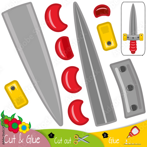 Sword with a red handle  Education paper game for preshool children
