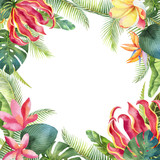 Watercolor vector card with tropical leaves and bright exotic flowers isolated on white background. - 208741567