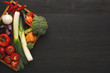 Fresh vegetables on wooden background, copy space