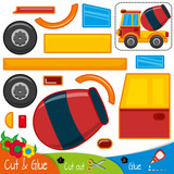 The car is a concrete mixer. Freight transport. Education paper game for preshool children. Vector illustration.