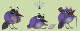 The bird is reading a book. Cartoon illustration