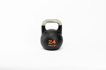 black dumbbells  on white background  © daniil