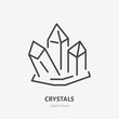 Crystal flat line icon. Gemstone, magic crystals sign. Thin linear logo for magician store. - 208742929