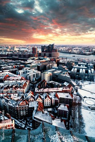 Fototapeta Über den Dächern Hamburgs
