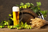 Still Life with Beer Glass, Hop Cones and Wheat - 208745976