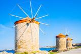 Historic Mandraki windmills in Rhodes Town, Rhodes Island, Mediterranean Sea, Greece - 208746553