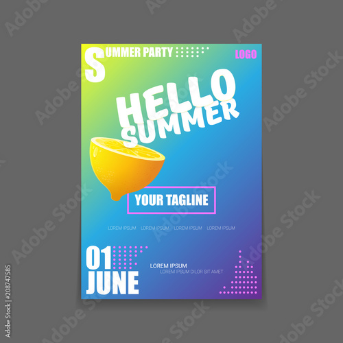 Vector Hello Summer Beach Party vertical A4 poster Design template or mock up with fresh lemon on gradient background. Hello summer concept label or flyer with orange fruit and typographic text. - 208747585