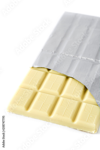 White chocolate bar isolated on white background