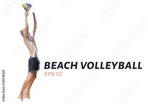 Fototapeta Beach volleyball from triangles. Low poly volleyball. Vector illustration.
