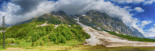 Fotobehang Bergrivier Aosta valley landscape in spring season