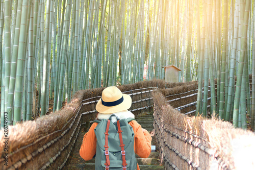 Sticker Tourist is traveling at Arashiyama Bamboo forest in Kyoto, Japan.