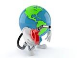 World globe character holding gasoline nozzle