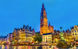 Leinwanddruck Bild - The Cathedral of Our Lady and the Silvius Brabo Fountain on the Grote Markt Square in Antwerp, Belgium
