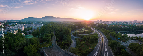 Fotobehang Zonsopgang Panorama of East Nanjing City at Sunrise