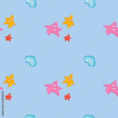 Undersea world. Bright and colorful seamless pattern of sea fauna. Cartoon ocean creatures. Smiling starfishes and shells on blue background.