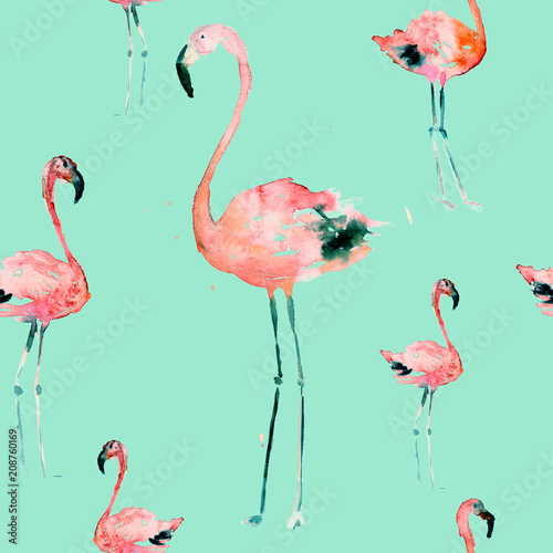 Hand Drawn Illustration With Flamingo. Exotic Summer Beach Motif. Swimwear Design, Wrapping, Background, Wallpaper, Fabric. Hawaiian Print. Jungle Birds Repeated Ornament. Aloha. Boho. Africa. - 208760169