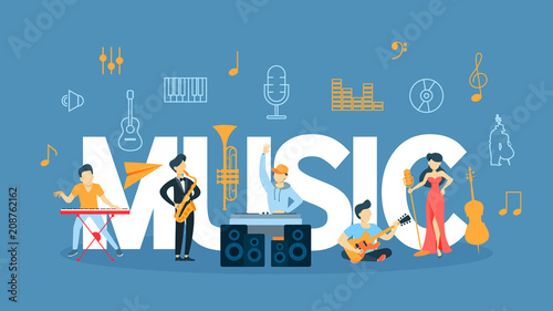 Fotobehang Muziek Music concept illustration.