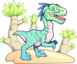 cartoon dinosaur cute prehistoric velociraptor, funny illustration - 208765910