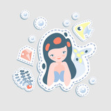 Cute little mairmaid - vector cartoon illustration. Fairy mermaids princess with underwater elements - coralls and bottle. Sticker cute mermaid character