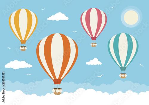 Cartoon Vector Hot Air Balloons