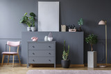 Pink chair next to grey cabinet in living room interior with plants and mockup of poster. Real photo - 208767757
