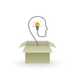 Think outside the box and creative idea concept with colorful lightbulb emerging out of cardboard box and wire forming head silhouette