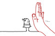 Big Hand with Cartoon Character - Stop Sign Facing a Woman
