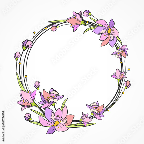 Flower card with purple circle pattern. Hand drawn. Vector - 208774374