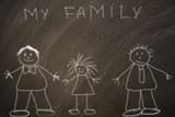 dibujo de una familia gay en una pizarra  - 208774993