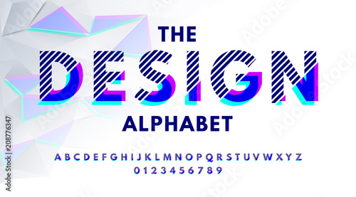 Stylish modern abstract font and alphabet with numbers  Vector