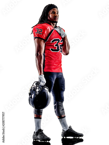 Aluminium Voetbal one american football player man isolated on white background