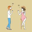 Cartoon cute man greeting woman vector.
