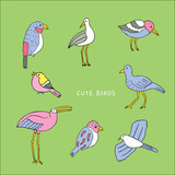 Cartoon cute birds vector.