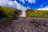 Iceland, waterfall Skogafoll summer