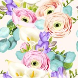 Seamless pattern with calla and ranunculus - 208780988
