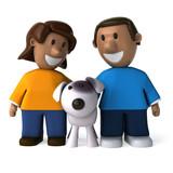 Happy kids and dog - 3D Illustration - 208781591