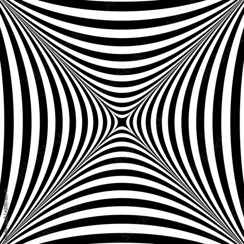 Optical illusion. Illusion art. Abstract twisted black and white background. Vector illustration.