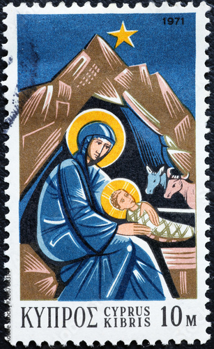 Fotobehang Cyprus Madonna and Jesus child on postage stamp of Cyprus