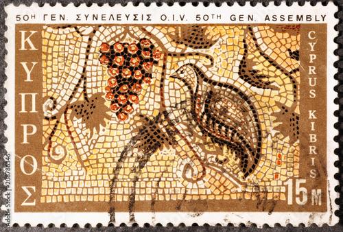 Fotobehang Cyprus Old mosaic on postage stamp of Cyprus