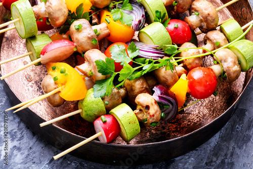 Kebabs,vegetables on skewer - 208793156