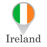 the flag of Ireland in the form of a pointer isolated on a white background, the inscription - 208793701