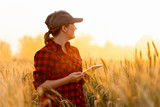 A woman farmer with tablet. Smart farming and digital agriculture. - 208794706