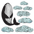 Outline monochrome whale and swirl clouds collection. Vector illustration.