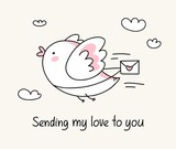 Sending my love to you greeting card with funny bird with love letter. Happy Valentine`s Day love cartoon illustration card