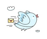 Cute blue bird flying with love message. Flat vector funny cartoon illustration card